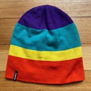Patagonia rainbow beanie hat logo